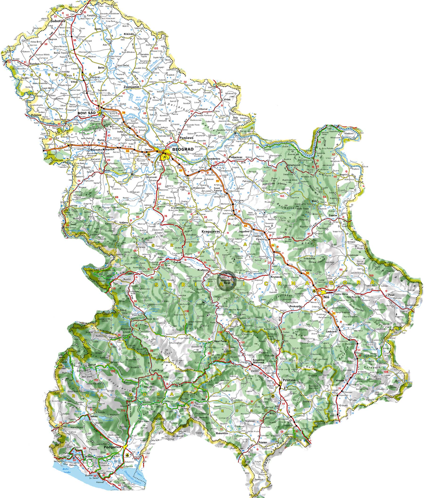 karta srbije sa planinama Geografski položaj | Turizam u Srbiji karta srbije sa planinama
